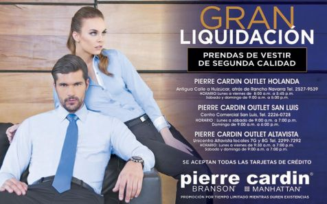 PIERRE CARDIN outlet gran liquidacion - 11sep15