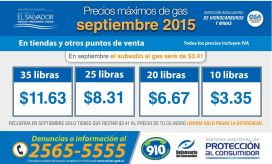 Precios maximo de gas SEPTIEMBRE 2015