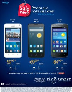 SALE week android smartphones HUAWEI ALCATEL PIXI by TIGO