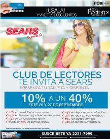 Si eres parte del club de lectores TENES 40 OFF en Sears - 24sep15
