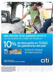 Solo ahora miercoles 30sep15 descuentos en todas las gasolinera con CITI