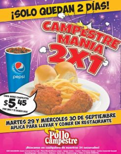Solo quedan dos dias POLLO CAMPESTRE promocion en menu - 29sep15