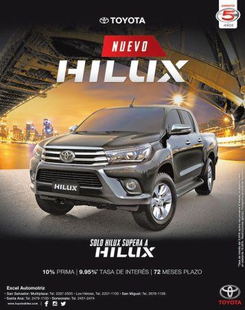 Supera las espectativas de tu auto nuevo HILUX Toyota el salvador