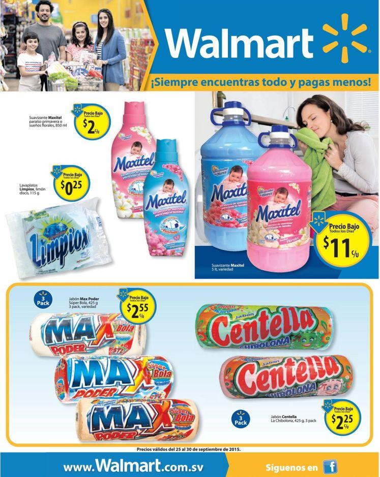 WALMART Ofertas en productos de lavado MAXITEL MAX CENTELLA LIMPIOX - 25sep15
