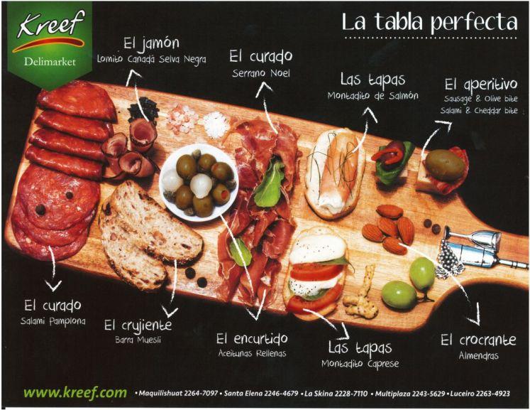 La tabla perfecta de COMIDA gourmet KREEF el salvador