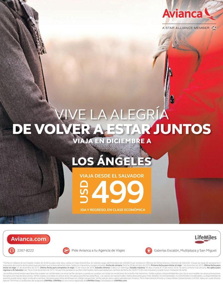 Lets go to LOS ANGELES via AVIANCA por solo 499 dolares
