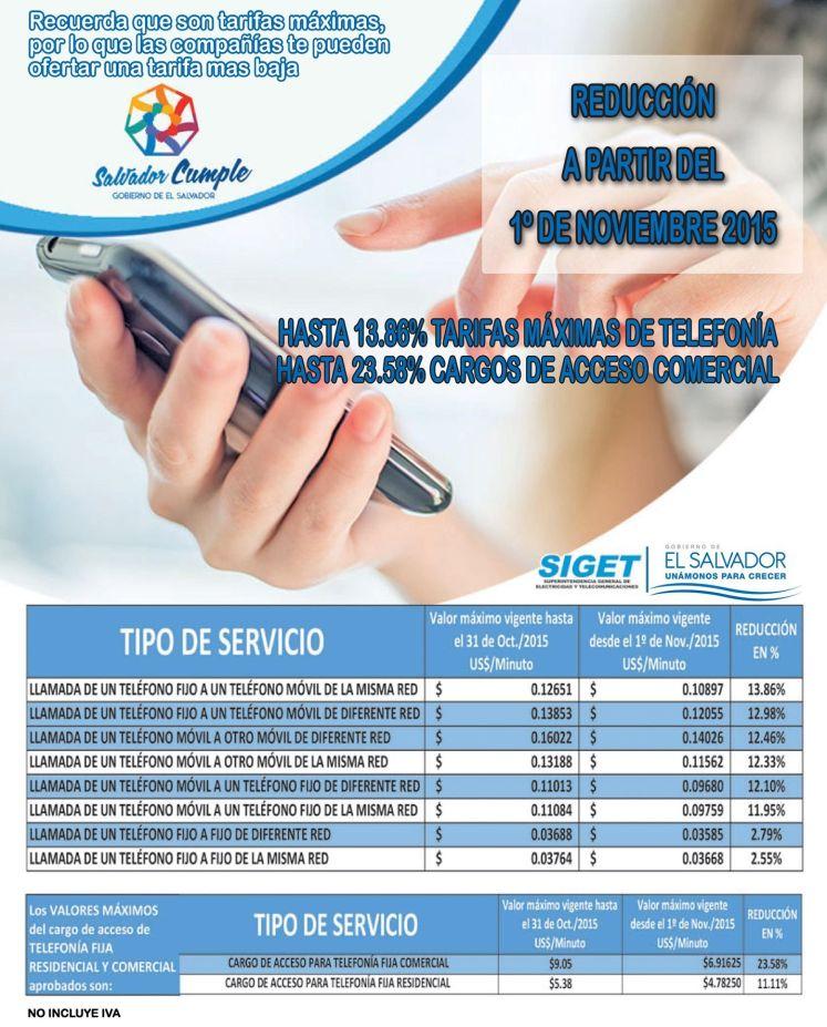 OJO revisa la reduccio de tarifas en telefonia el salvador 2015