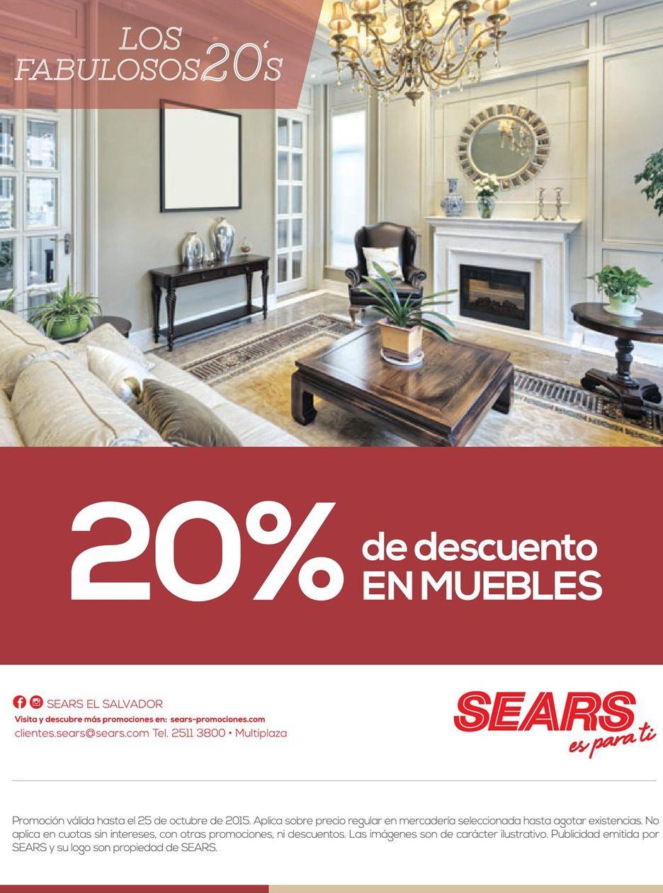 SEARS te ofrece 20 off en muebles - 24oct15 - Ofertas Ahora