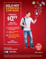 Solo hoy super pack ilimitados CLARO promociones - 28oct15