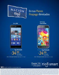 Sony M4 smartphone y SAMSUNG core prime ofertas via TIGO