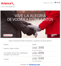 Volar y viajar con tarifas bajas via AVIANCA