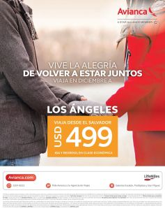 Promocion en boleto aereo para los angeles via AVINANCA - 13nov15