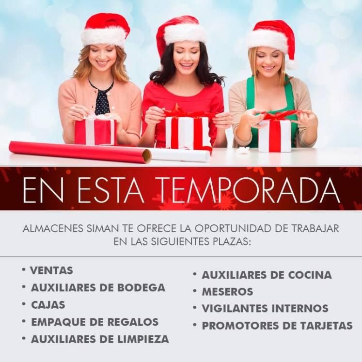 trabajo de Temporada navideña 2015 almacenes SIMAN