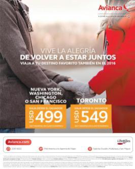 AVIANCA offers vuelos para estados unidos y canada