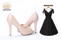Mira esta matizada combinacion de vestido y tacones de fiesta