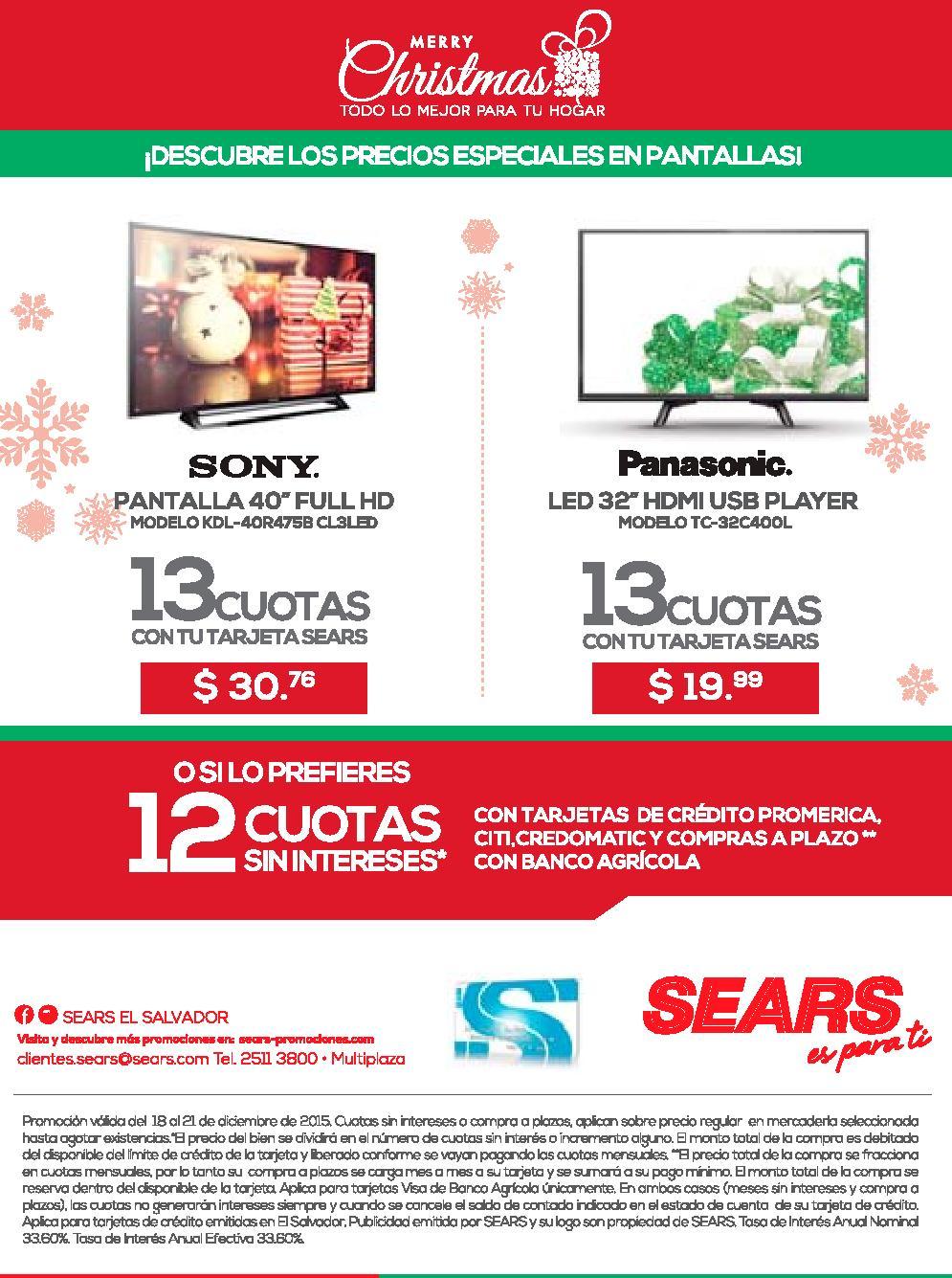 Promociones SEARS el salvador pantallas sony y panasonic