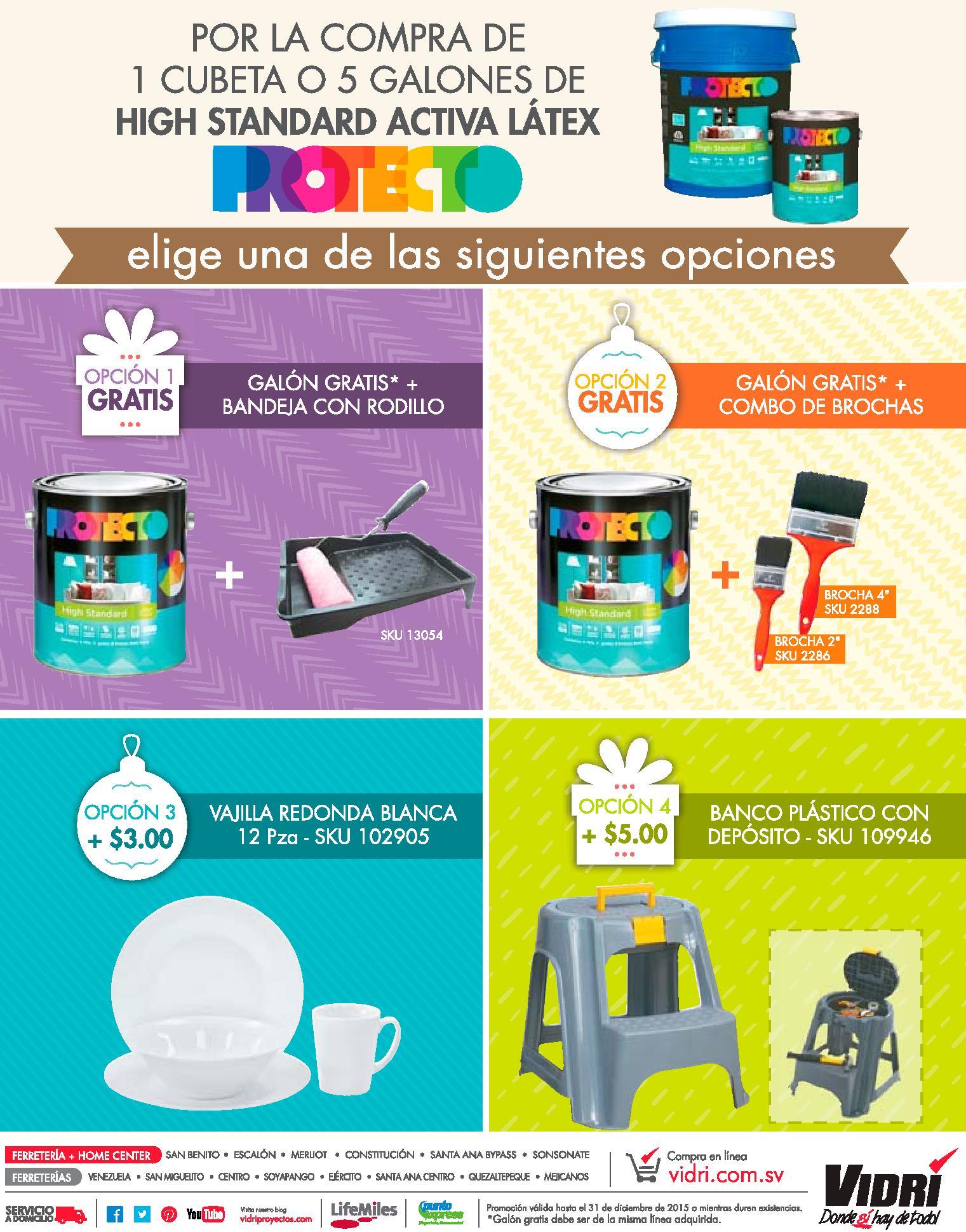 Promociones por la compra de pintura PROtECtO high standard activa latex
