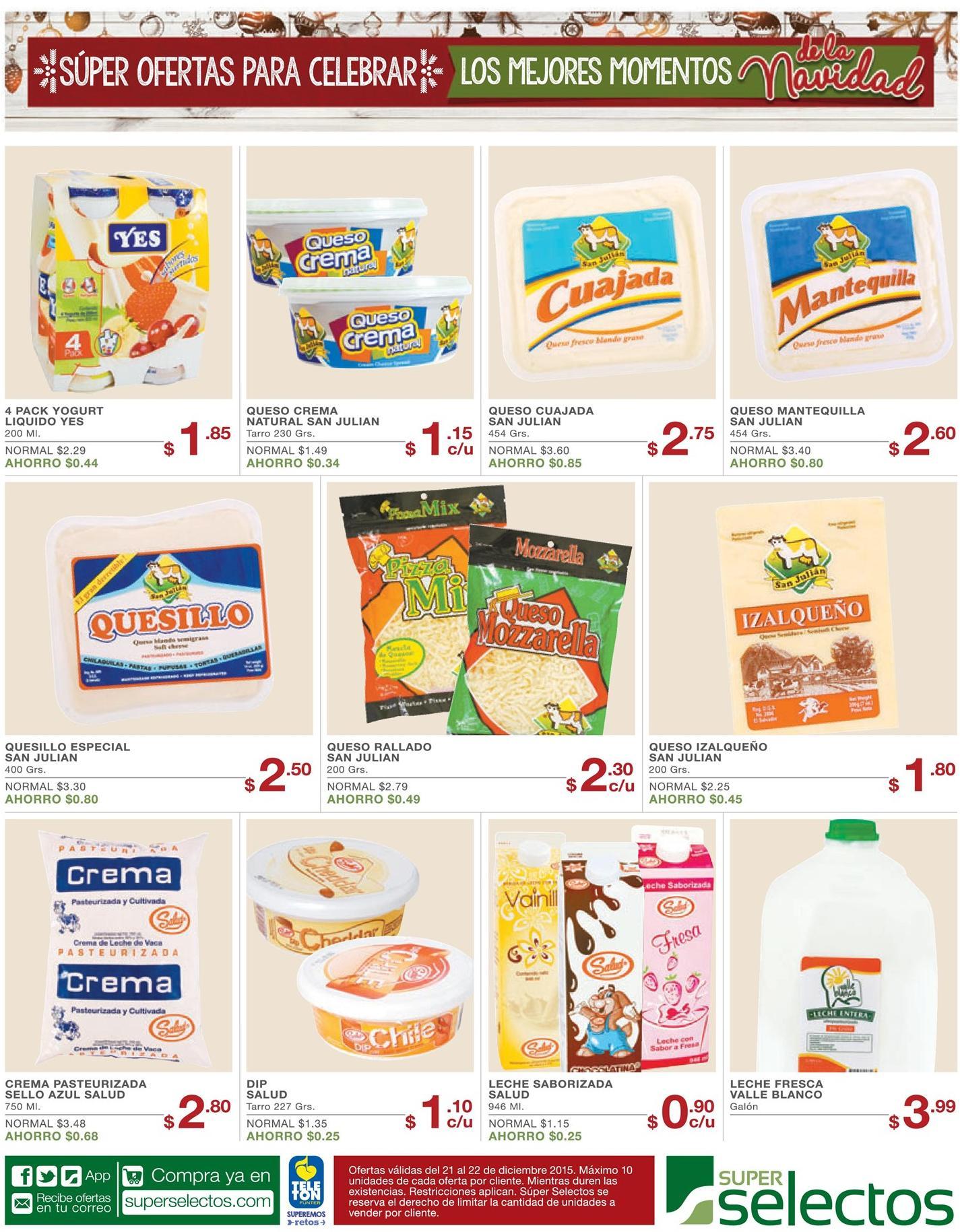 Selectos lacteos al mejor precios este Lunes 21dic15