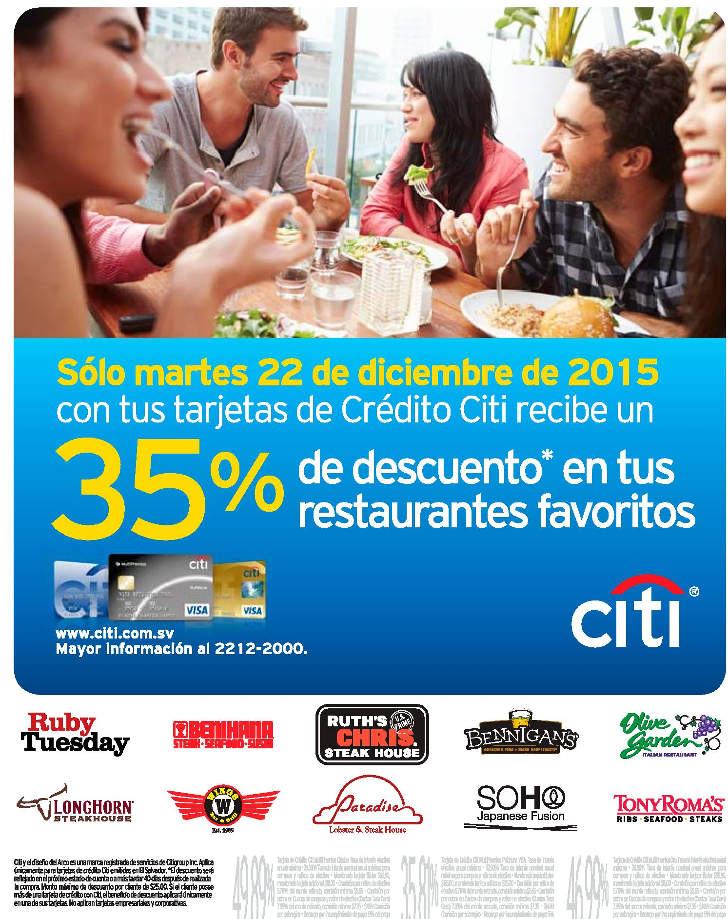 sOLO hoy 35 off en tus restaurante favoritos via CITI