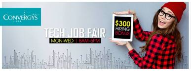 tech JOB fair convergys el salvador ENERO 2016 bonus 300 dollars