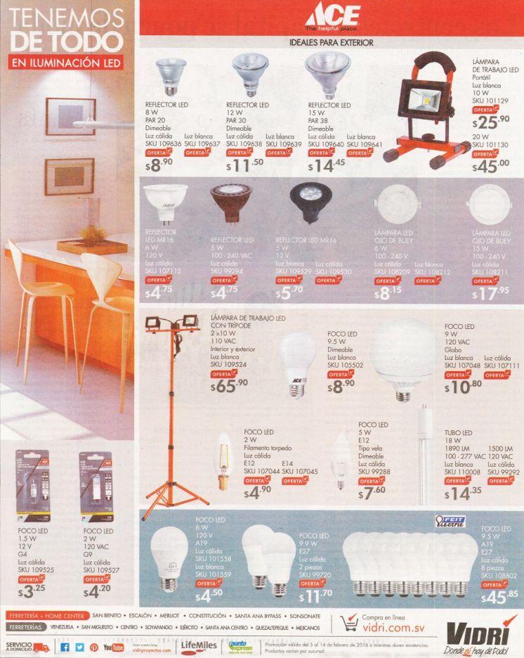 ACE productos en iluminacion LED para hogares oficinas y alcobas