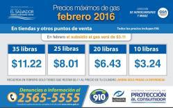Cuanto cuesta el GAS en el mes de febreo 2016