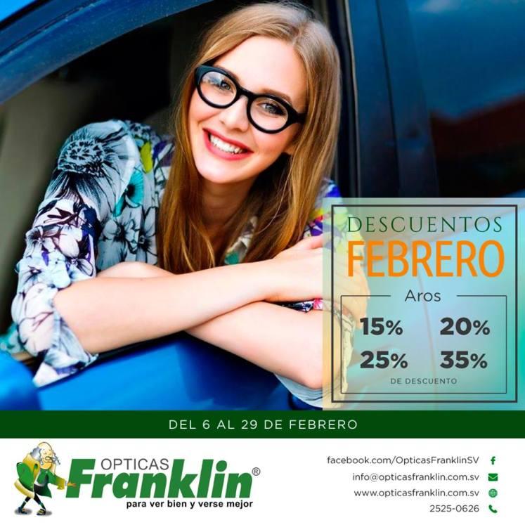 Descuentos de Febrero 2016 en Opticas FRANKLIN el salvador