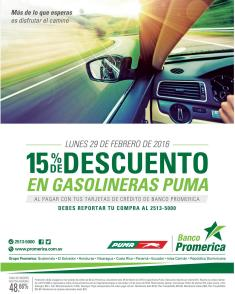 Gasolinera PUMA 15 off von tus tarjetas del banco promerica - 29feb16