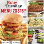 LUNCH MENU promocion 2x1 en ruby tuesday multiplaza