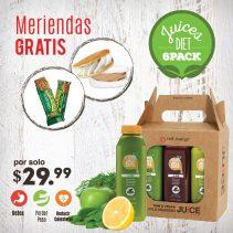 Meriendas GRATIS por tu compra de JUICES diet six pack