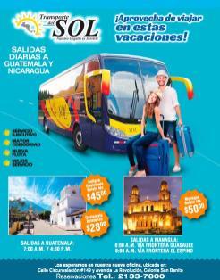 BUSES con salidas y llegadas diarias a nicaragua guatemala el salvador