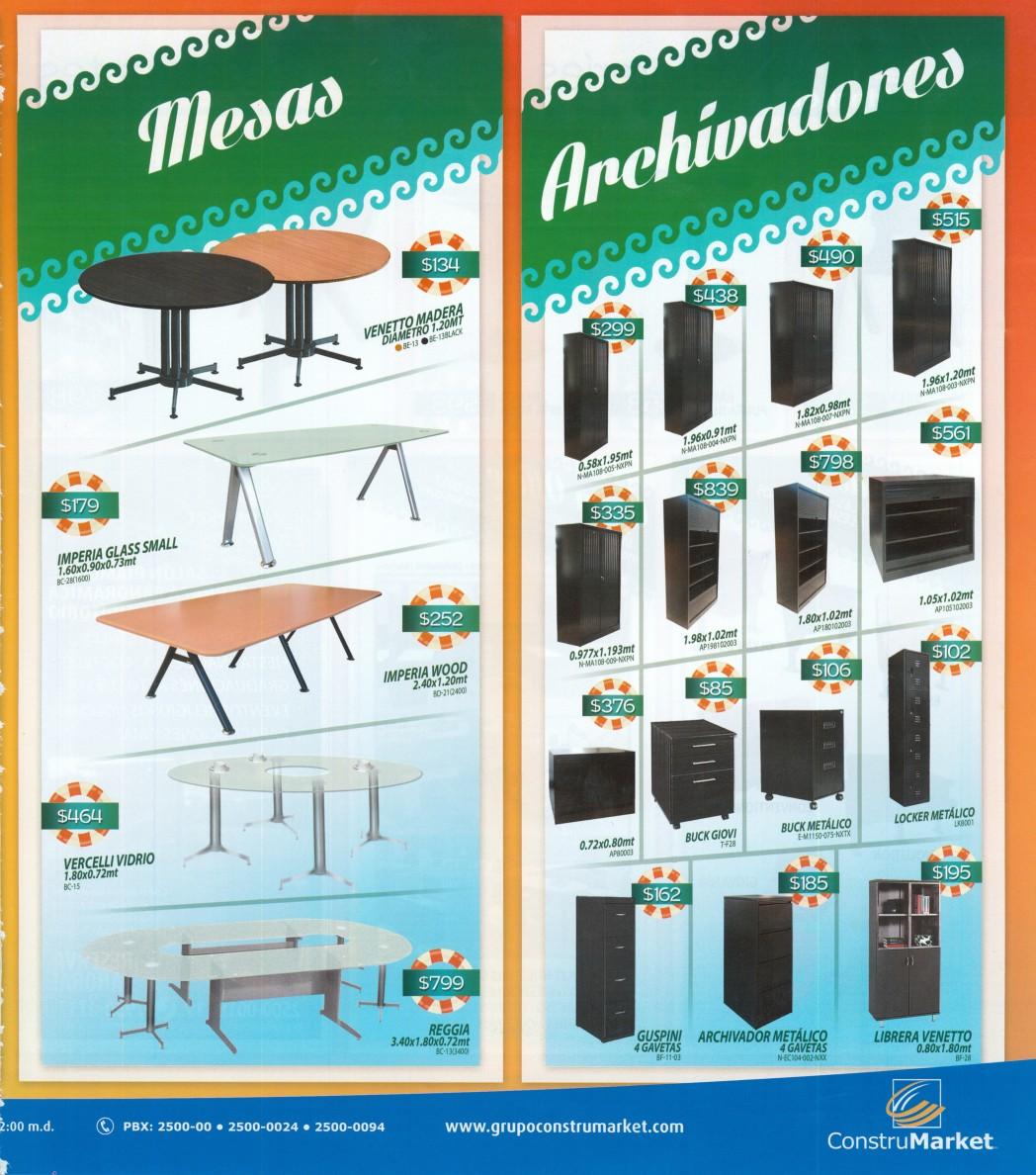 Grupo construmarket el salvador PROMOCIONES en mesas de madera vidrio y archivadores