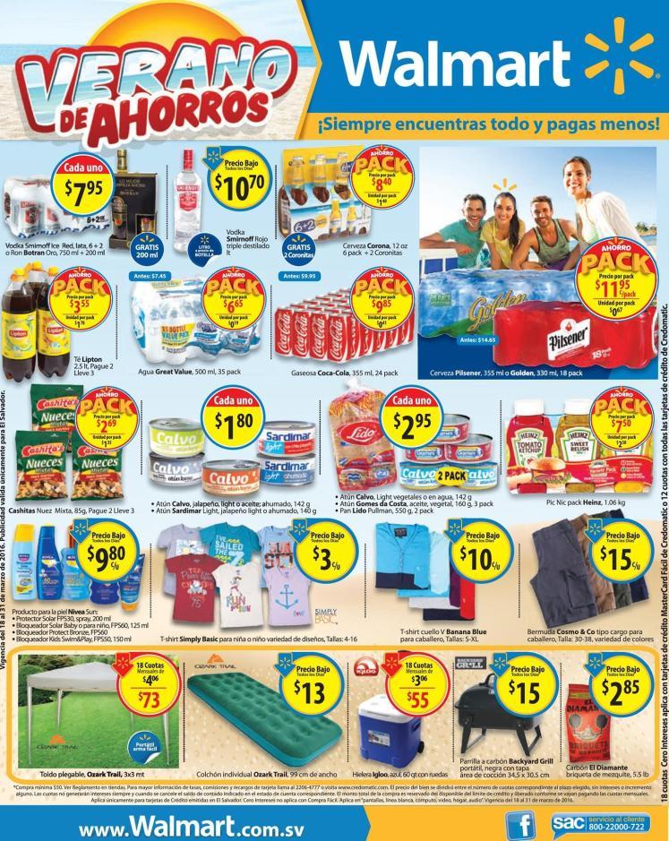 PACK de precios bajos en vacaciones WALMART supermercados - 18mar16