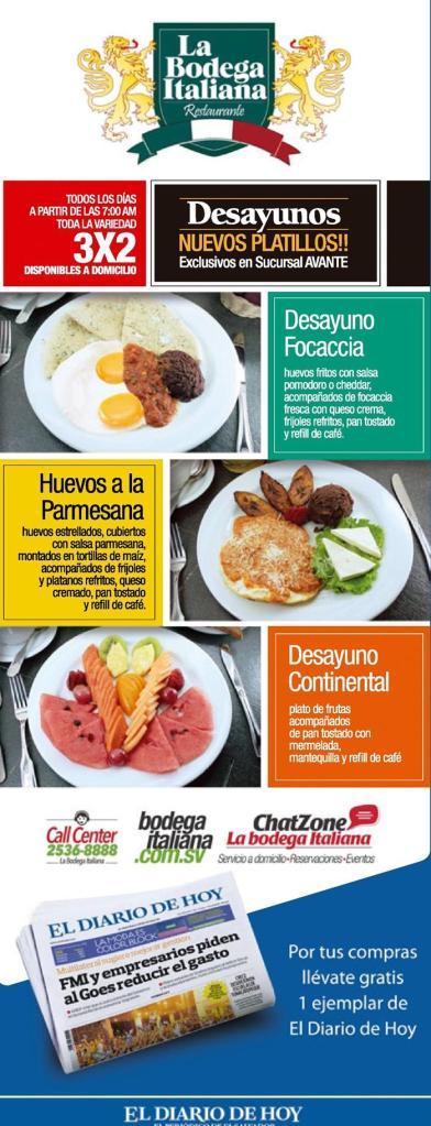 Promociones en Desayunos de la bodega italiana