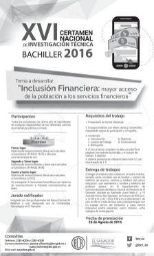 BCR - Certamen Nacioanl de investigacion tecnica BACHILLER 2016