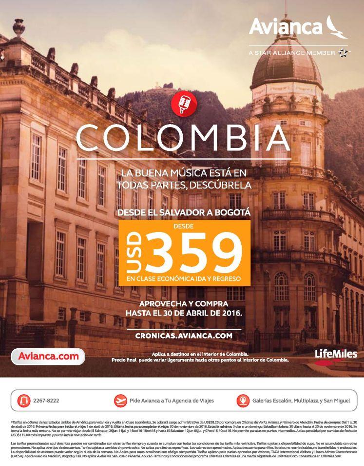 Colombia por sol 359 dolares via avianca
