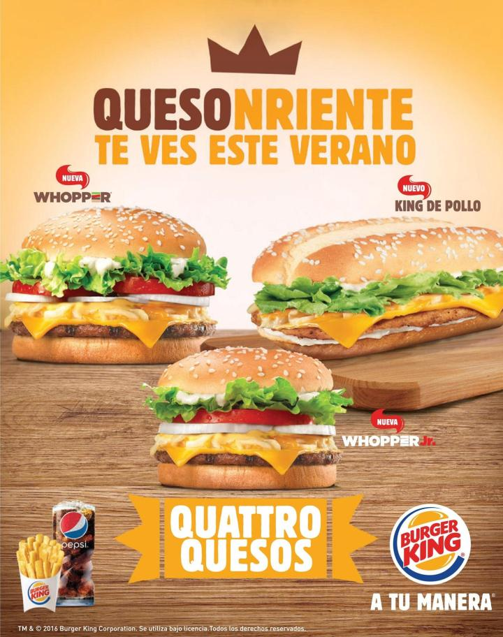 Deliciosas BURGER KING four cheesse