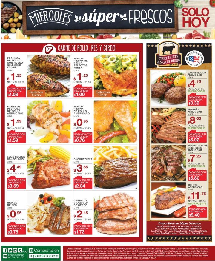 Filetes de pollo pescados Carnes para asar y guisar OFERTAS selectos - 06abr16