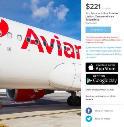 Gran oferta viaja a Estados unidos por solo 221 dolares via AVIANCA HOPPER