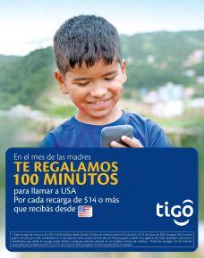 Promocion TIGO el salvador te regala 100 minutos para llamar a estados unidos