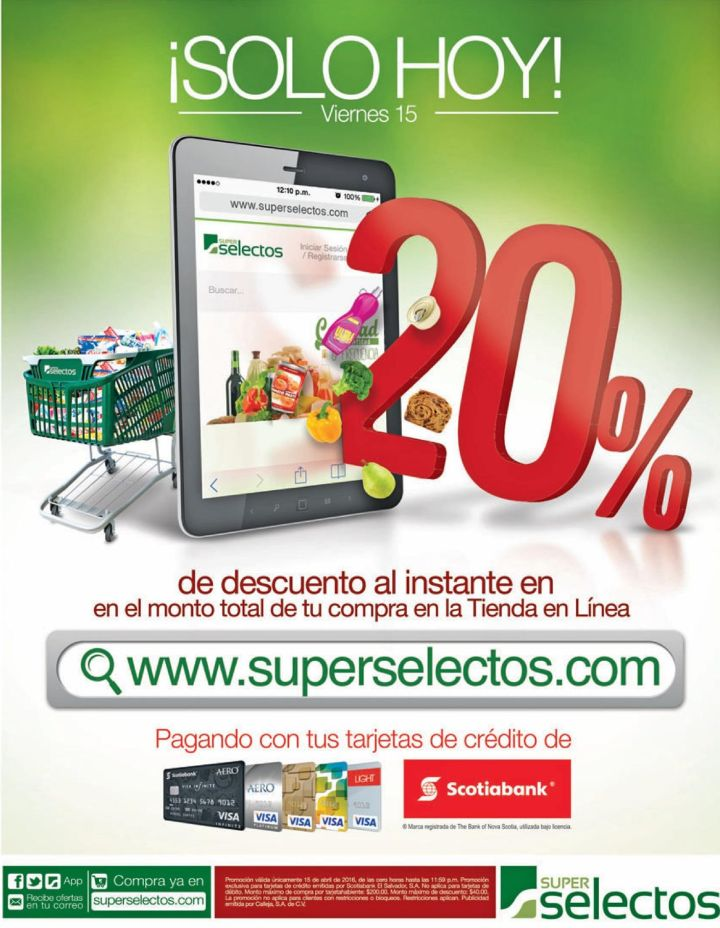 TODAY online discounts on super selectos credit card SCOTIABANK
