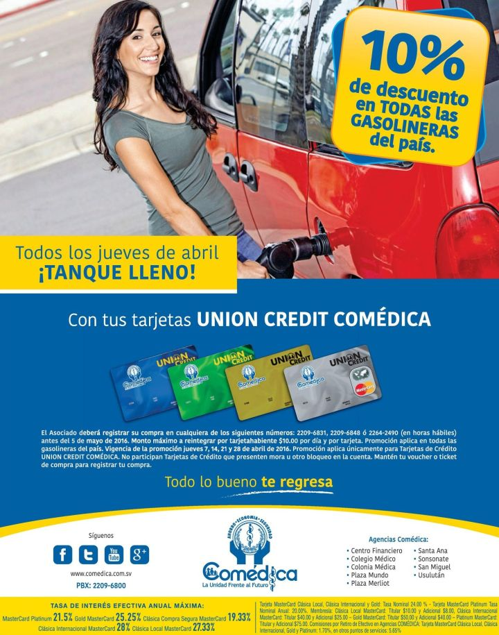 Todos los juves de abril 10 OFF en gasolina con UNION CREDIT COMEDICA