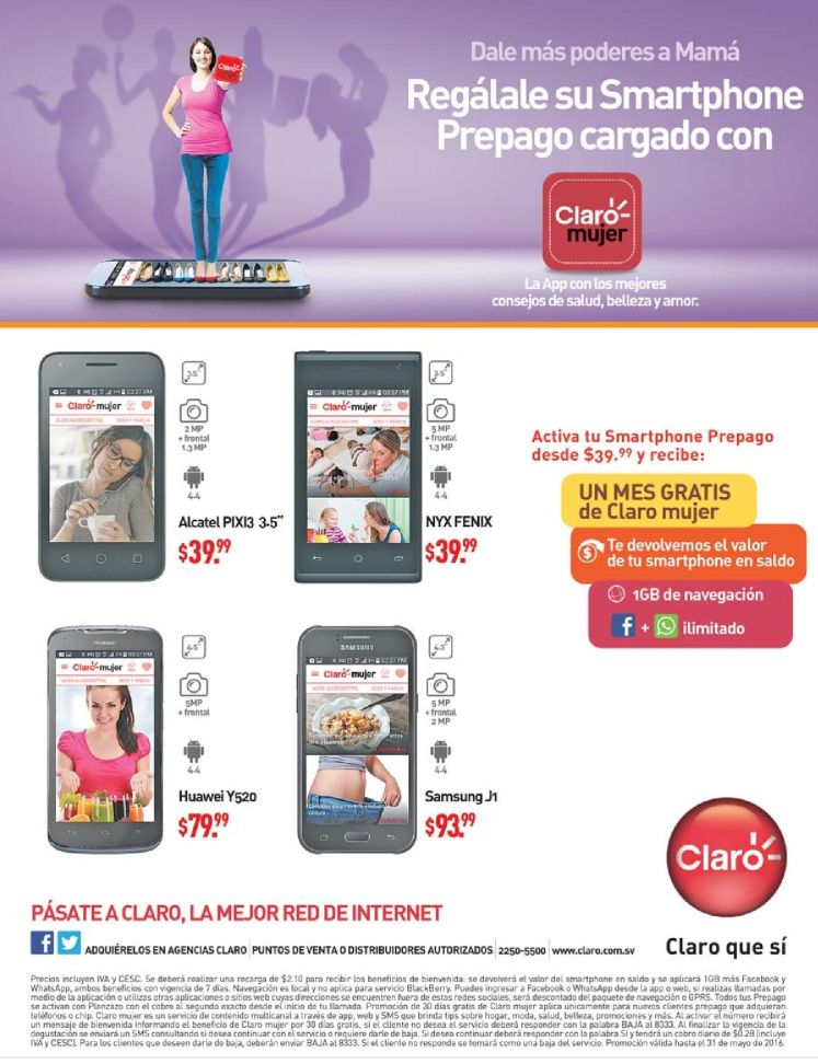 nueva App CLARO MUJER regalale un smartphone a mama