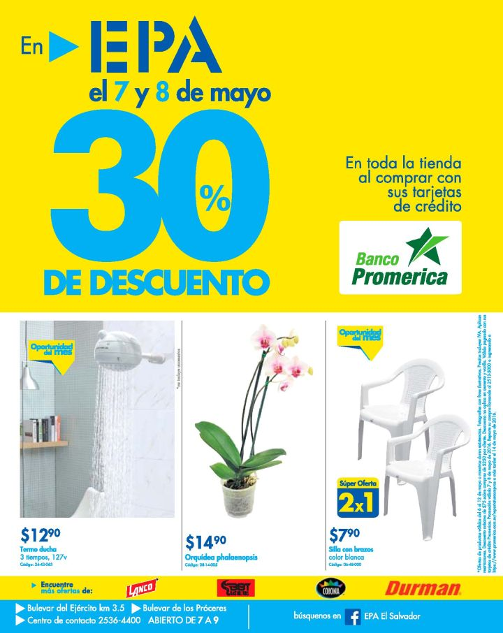 ATENCION fin de semana con 30 off en FERRETERIA EPA - 07may16