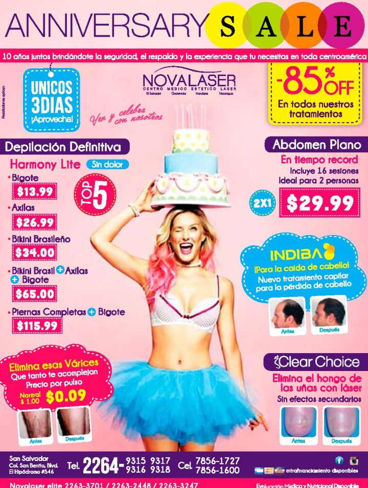ANIVESARY sale NOVALASER promcoiones para lucir bella