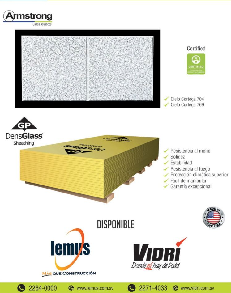 DensGLASS sheathing and Armstrong acoustic roof