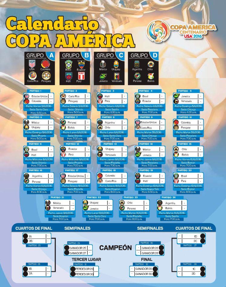 FREE download Calendario de la COPA AMERICA centenario USA 2016