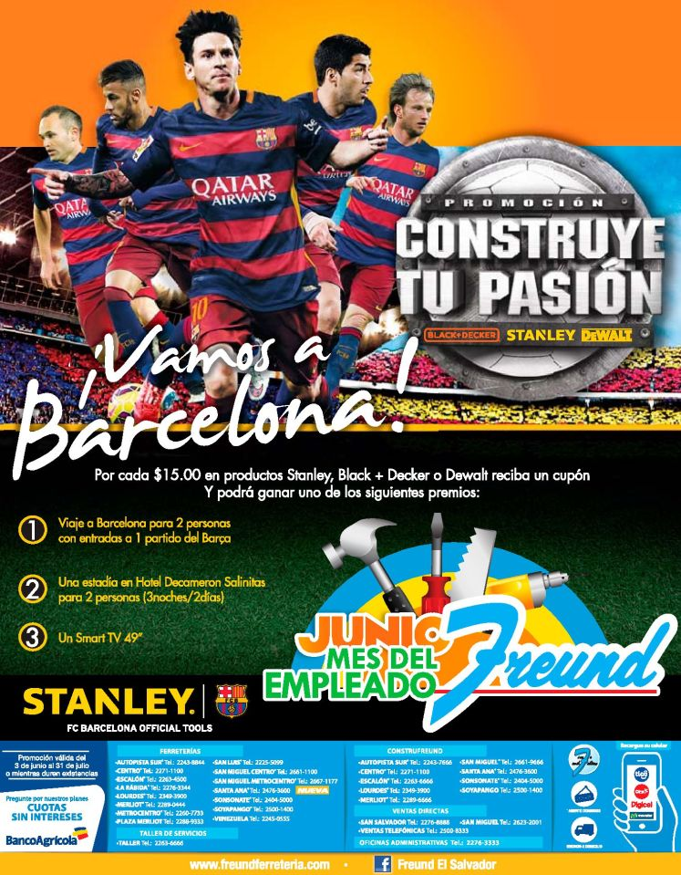 JUNIO 2016 freund te lleva a BARCELONA a ver tu equipo