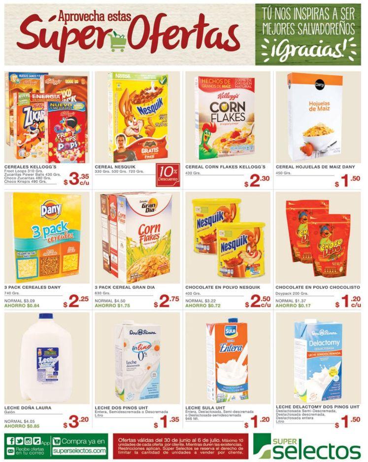 Super Ofertas Selectos el salvador en cereales y leche - 30jun16