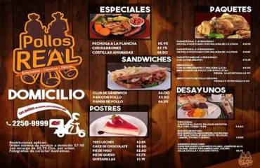 MENU servicio a domicilio pollo real el salvador